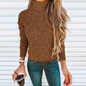 ARIAL-Scalloped Turtleneck Sweater